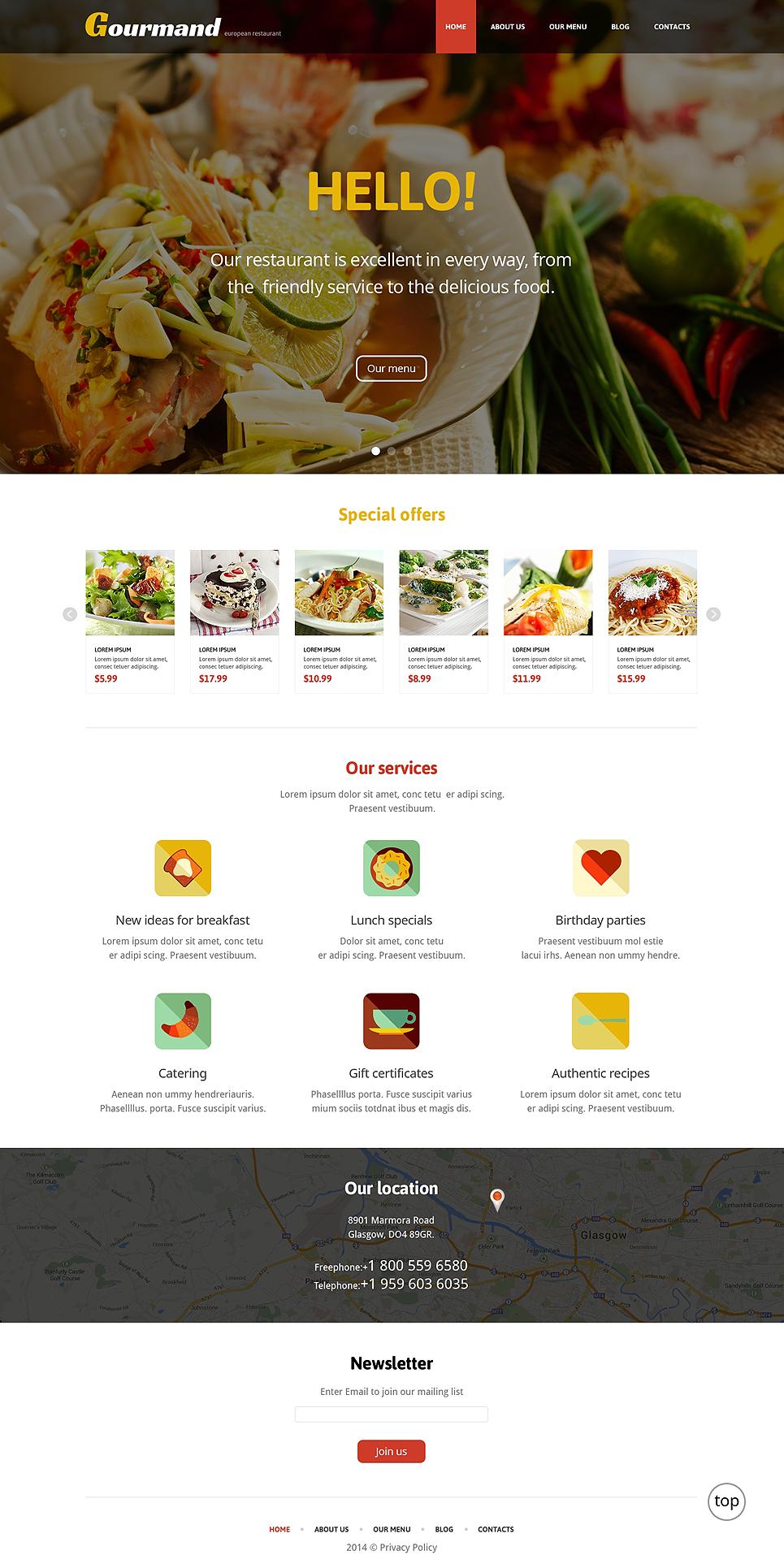 Адаптивный шаблон сайта на тему европейский ресторан #47709