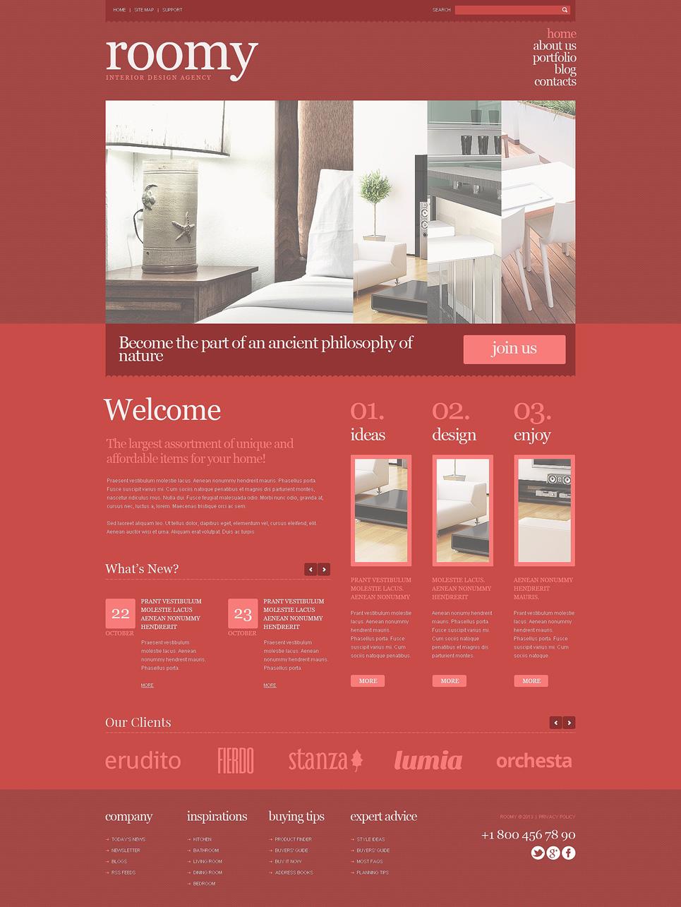 Адаптивный шаблон сайта на тему дизайн интерьеров #47712