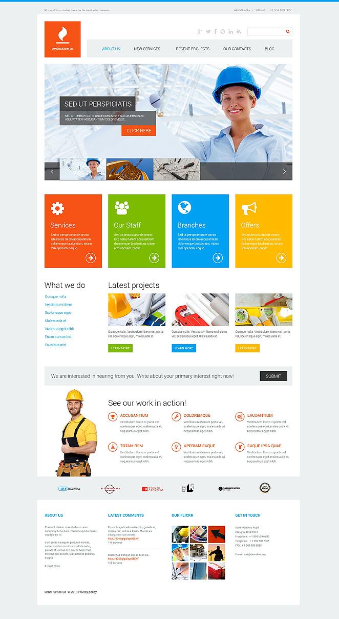 Адаптивный шаблон сайта на тему строительные компании #47713