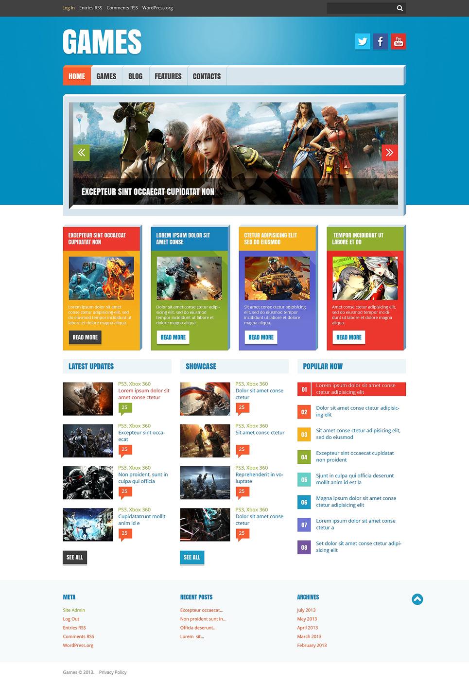 Адаптивный шаблон сайта на тему flash игры #47780