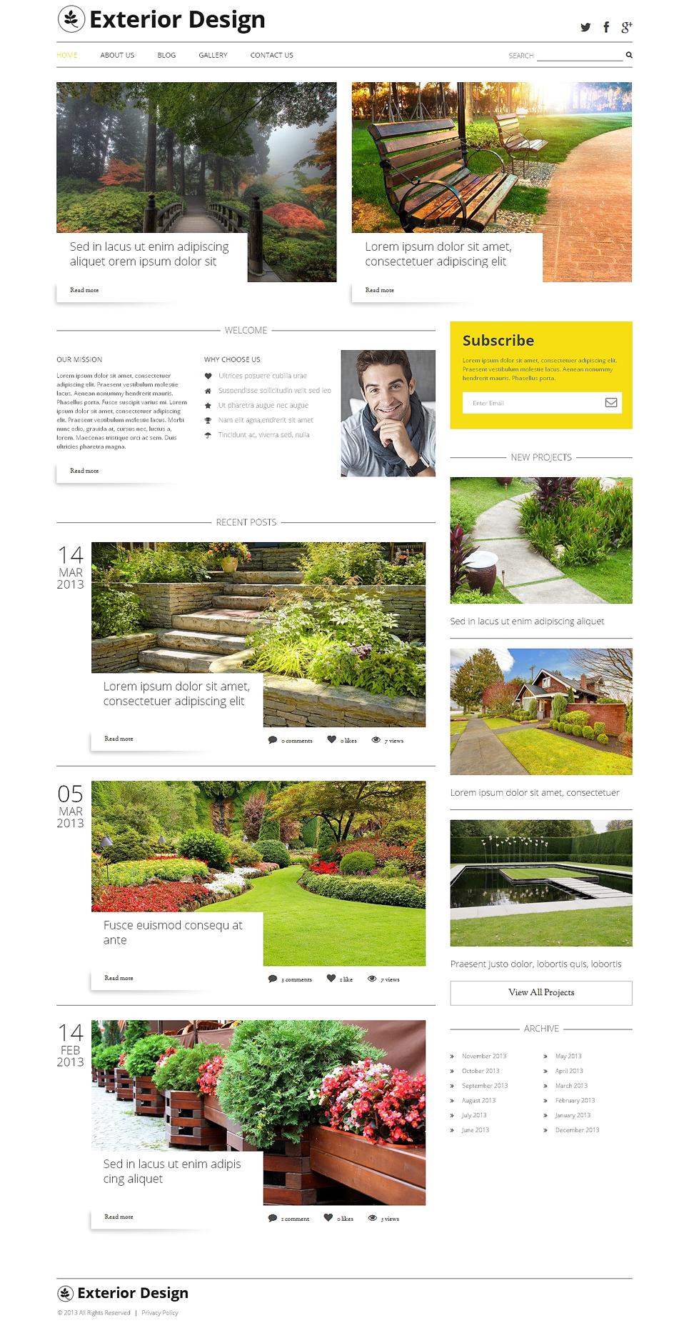 Адаптивный шаблон сайта на тему дизайн экстерьера #47784