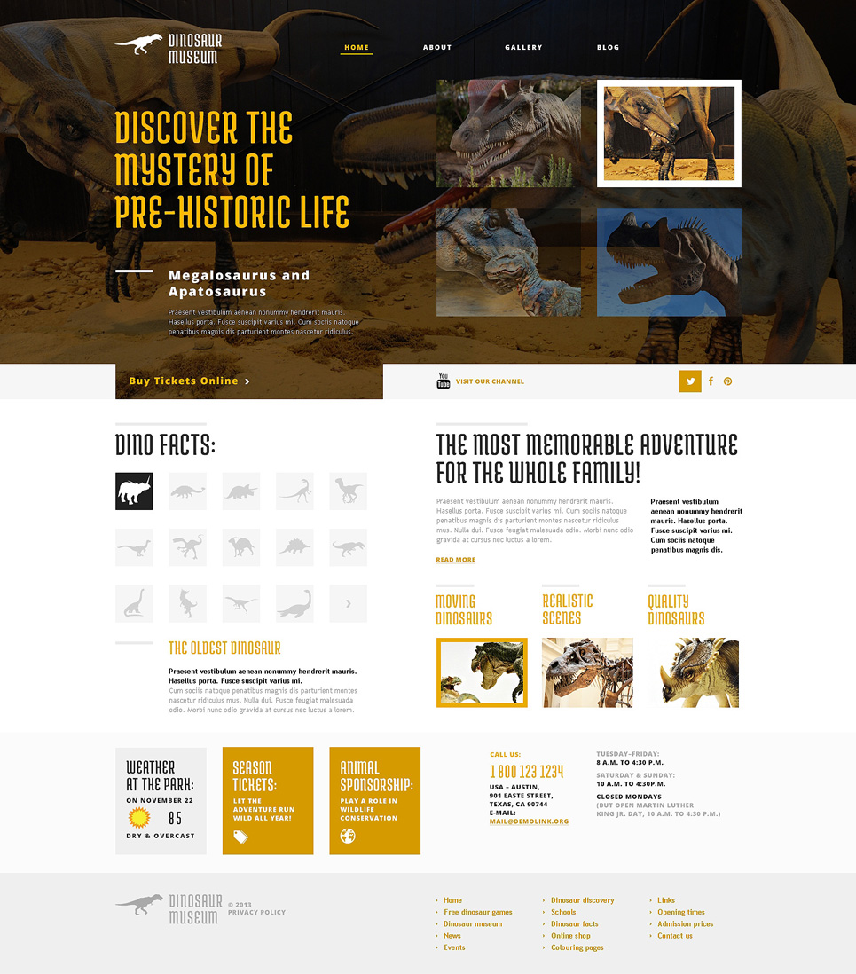 Адаптивный шаблон сайта на тему музей #47786