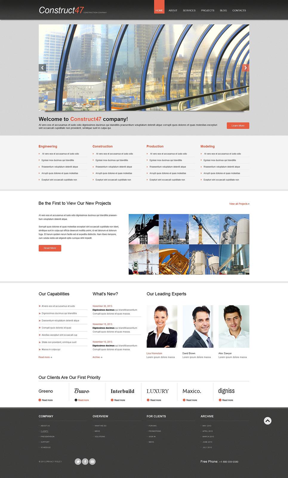 Адаптивный шаблон сайта на тему строительные компании #47788