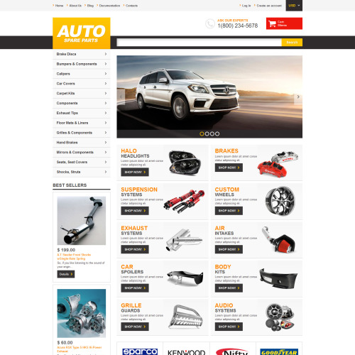 Auto Spare Parts - Shopify Template based on Bootstrap