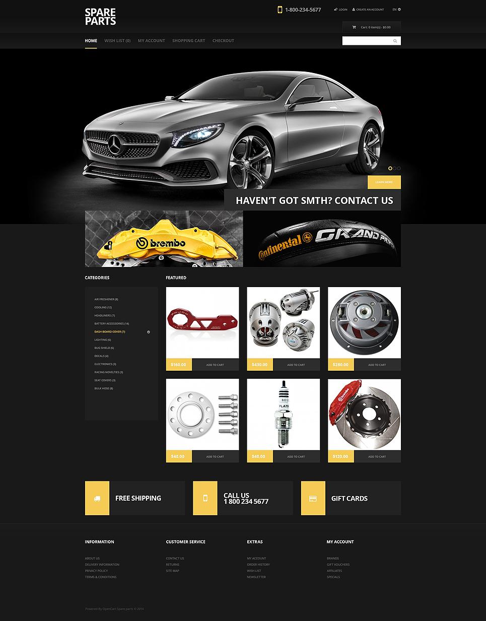 Black Auto Parts OpenCart Template #47777