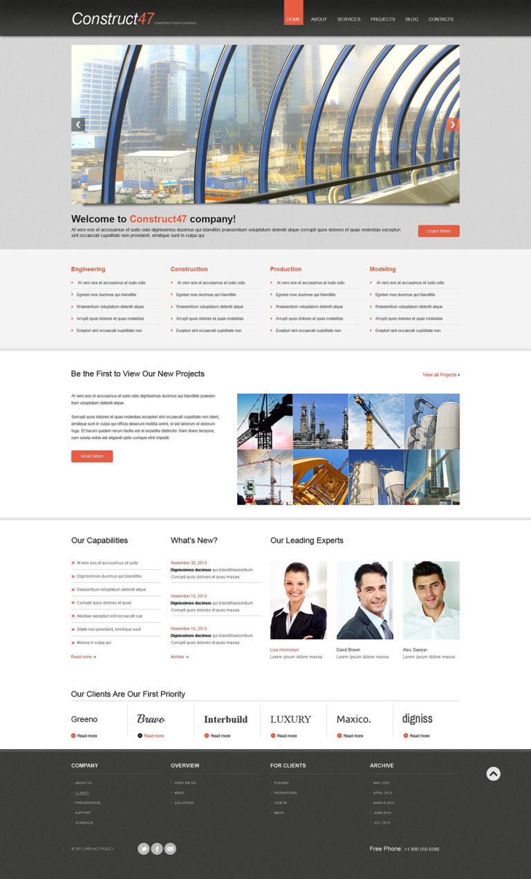 Construction WordPress Theme New Screenshots BIG