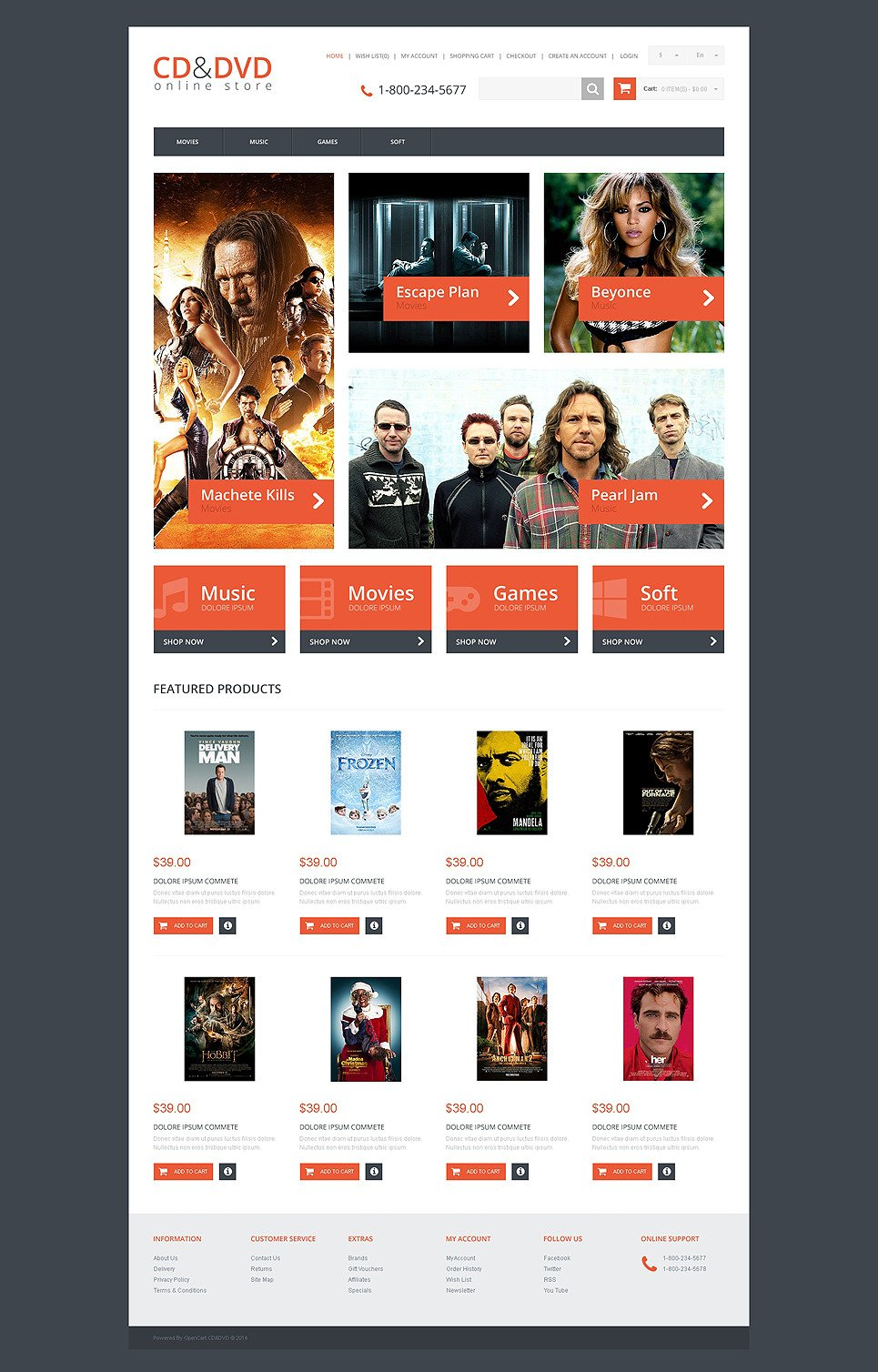 DVD Store Responsive OpenCart Template New Screenshots BIG