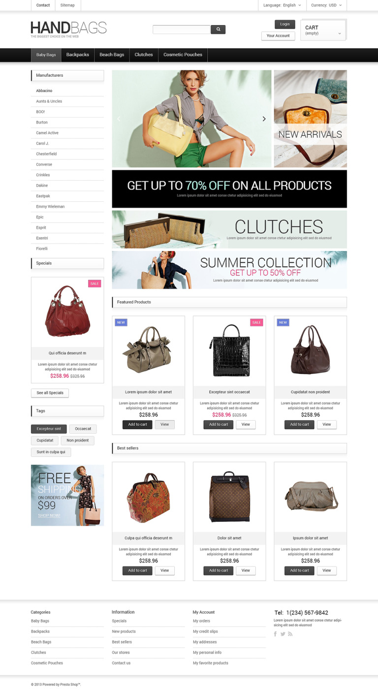 Fancy Bags PrestaShop Theme New Screenshots BIG