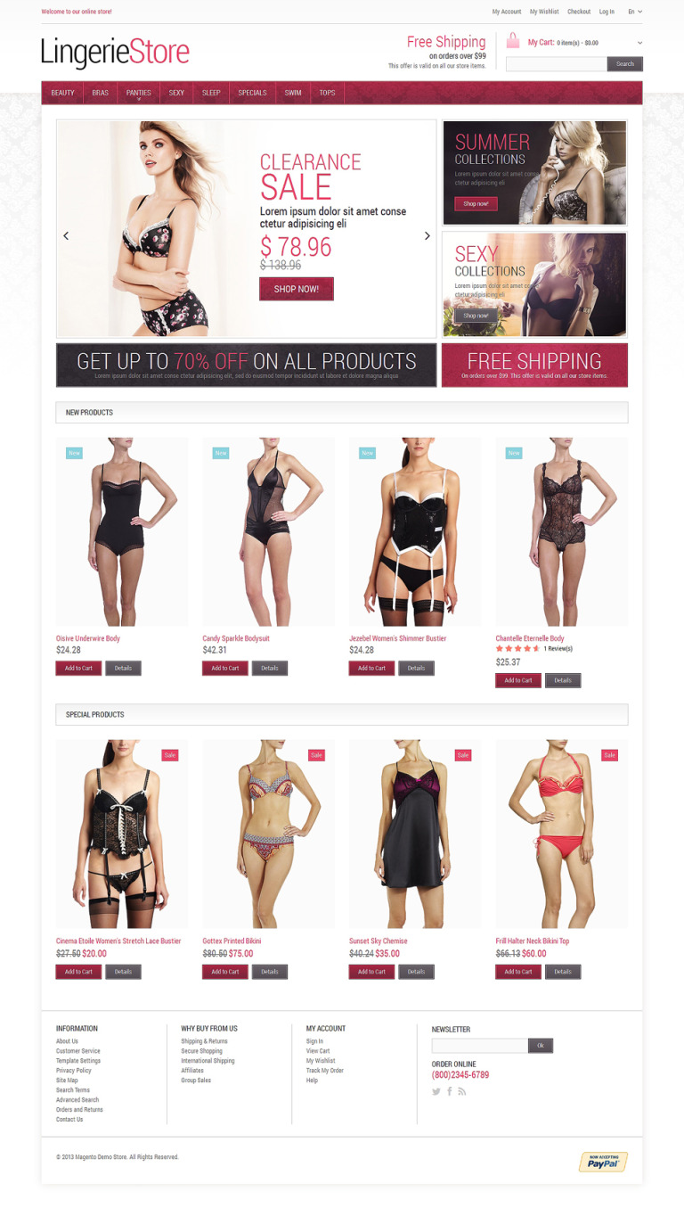 Fancy Lingerie Magento Theme New Screenshots BIG