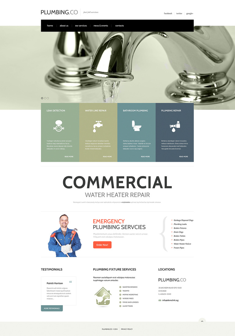 Full Plumbing Services Website Template New Screenshots BIG