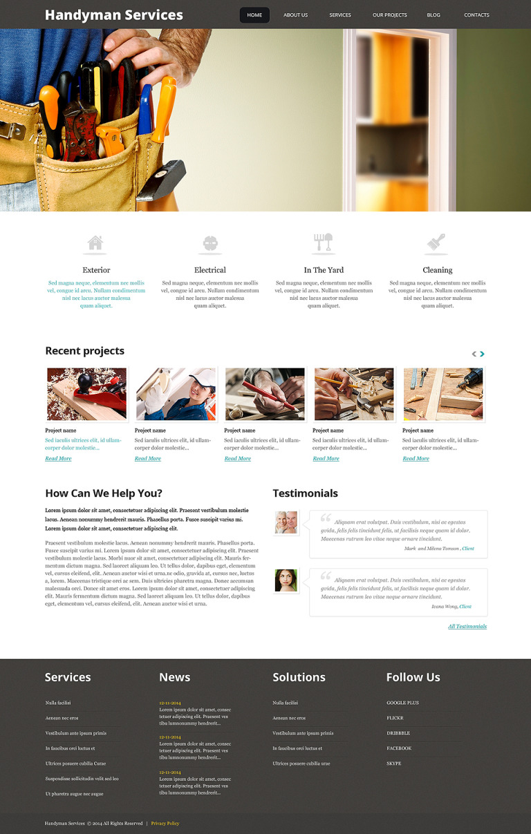 Impressive Handyman Services WordPress Theme New Screenshots BIG