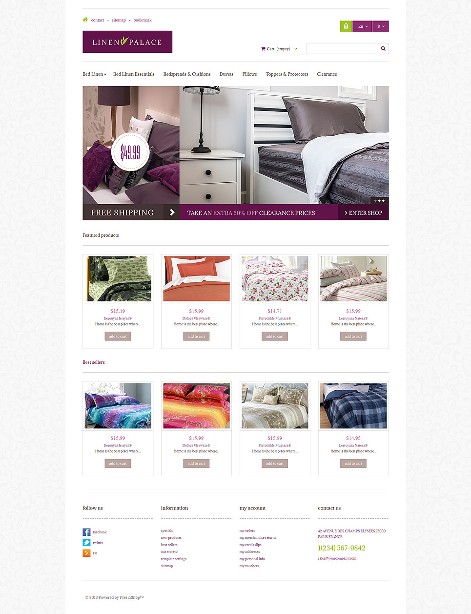 Linen Palace PrestaShop Theme New Screenshots BIG