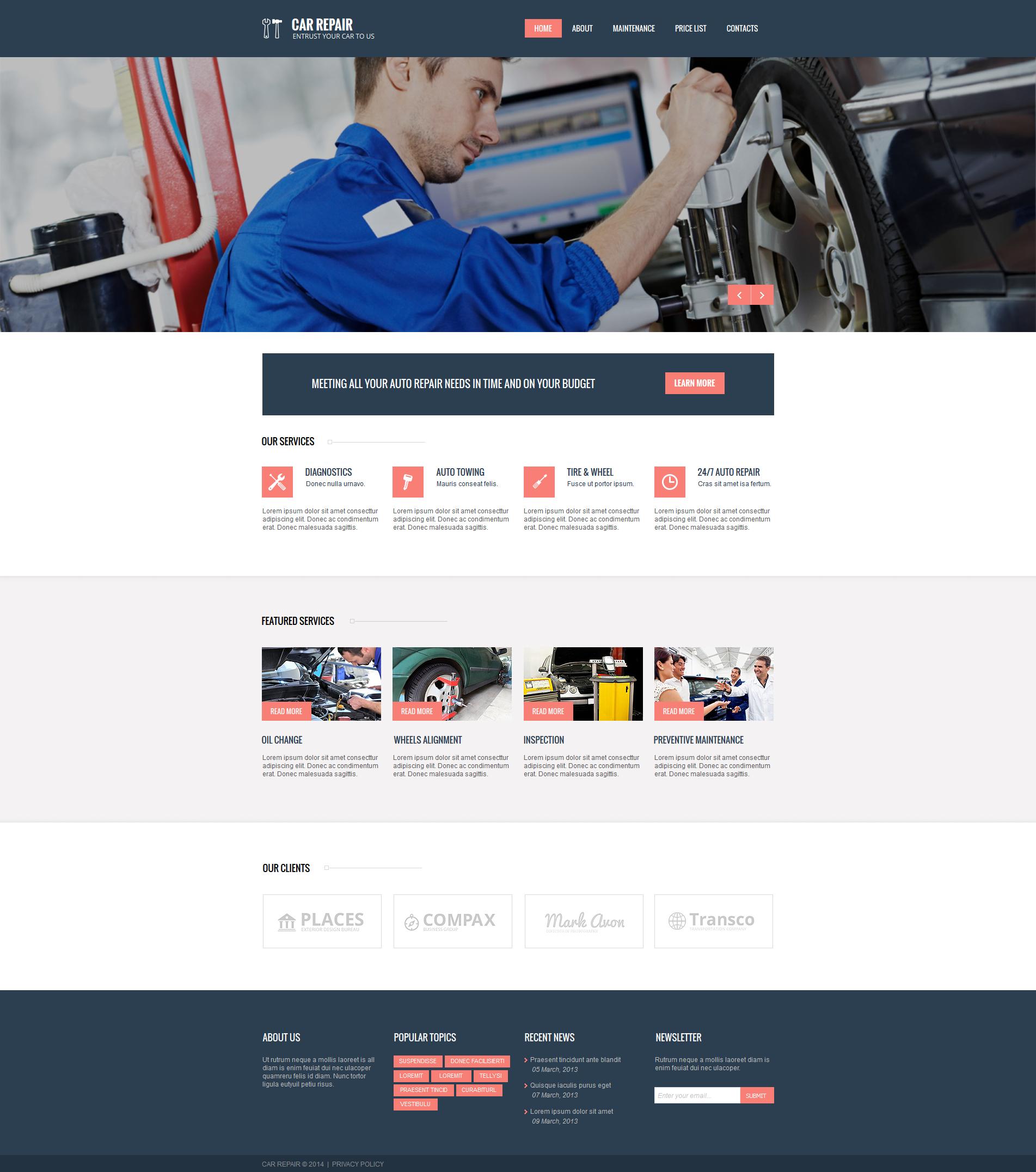 MotoCMS HTML шаблон №47724 на тему ремонт авто