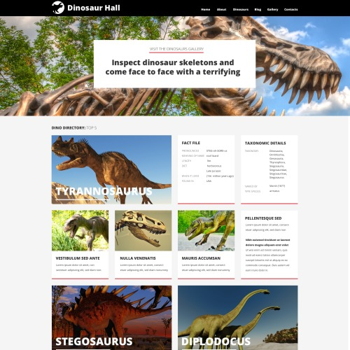 Dinosaur Hall - WordPress Template based on Bootstrap