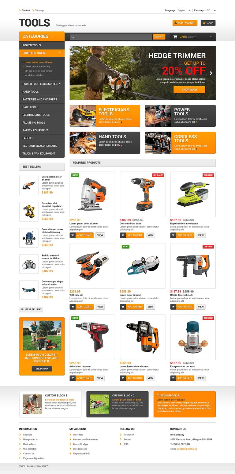 Quality Tools PrestaShop Theme New Screenshots BIG