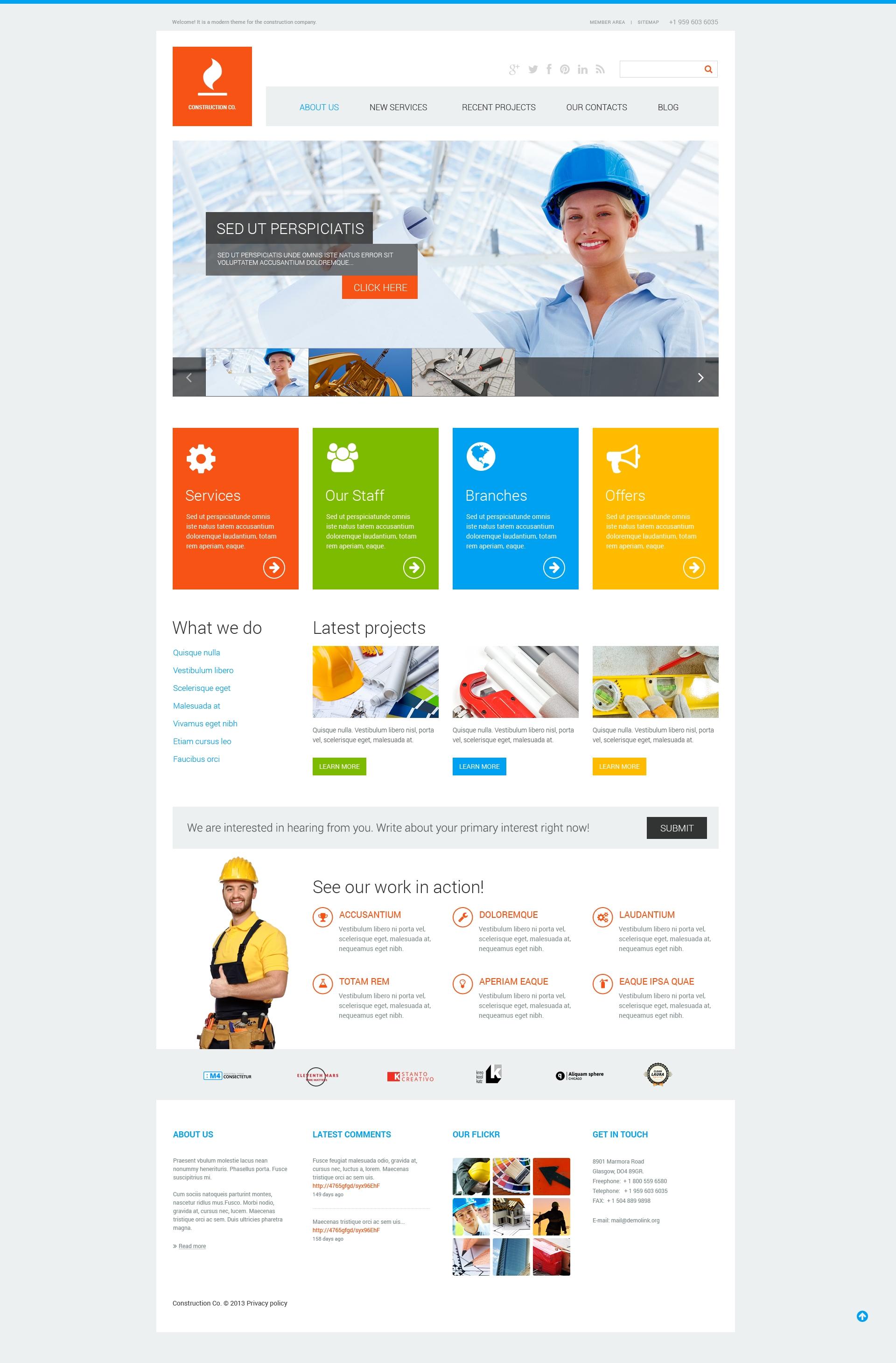 Reszponzív Construction Co WordPress sablon 47713 - képernyőkép