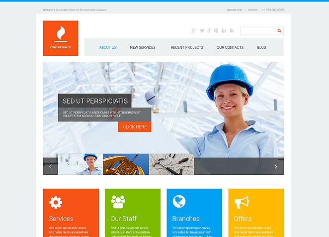 Tema de WordPress #47713 para Sitio de Empresas de construcción