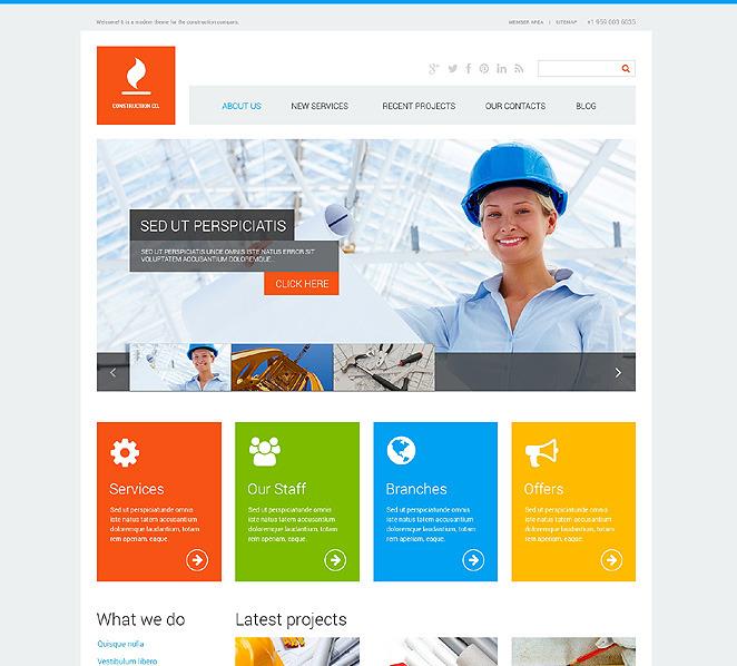 Tema de wordpress 47713 para sitio de empresas de for Empresas de construccion