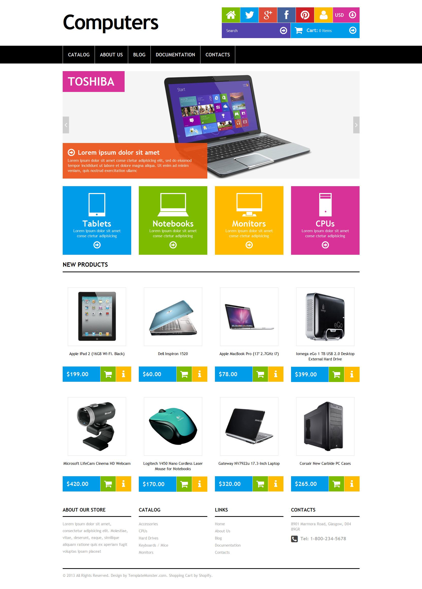 Tema Shopify Responsive para Sitio de Tienda de Ordenadores #47700