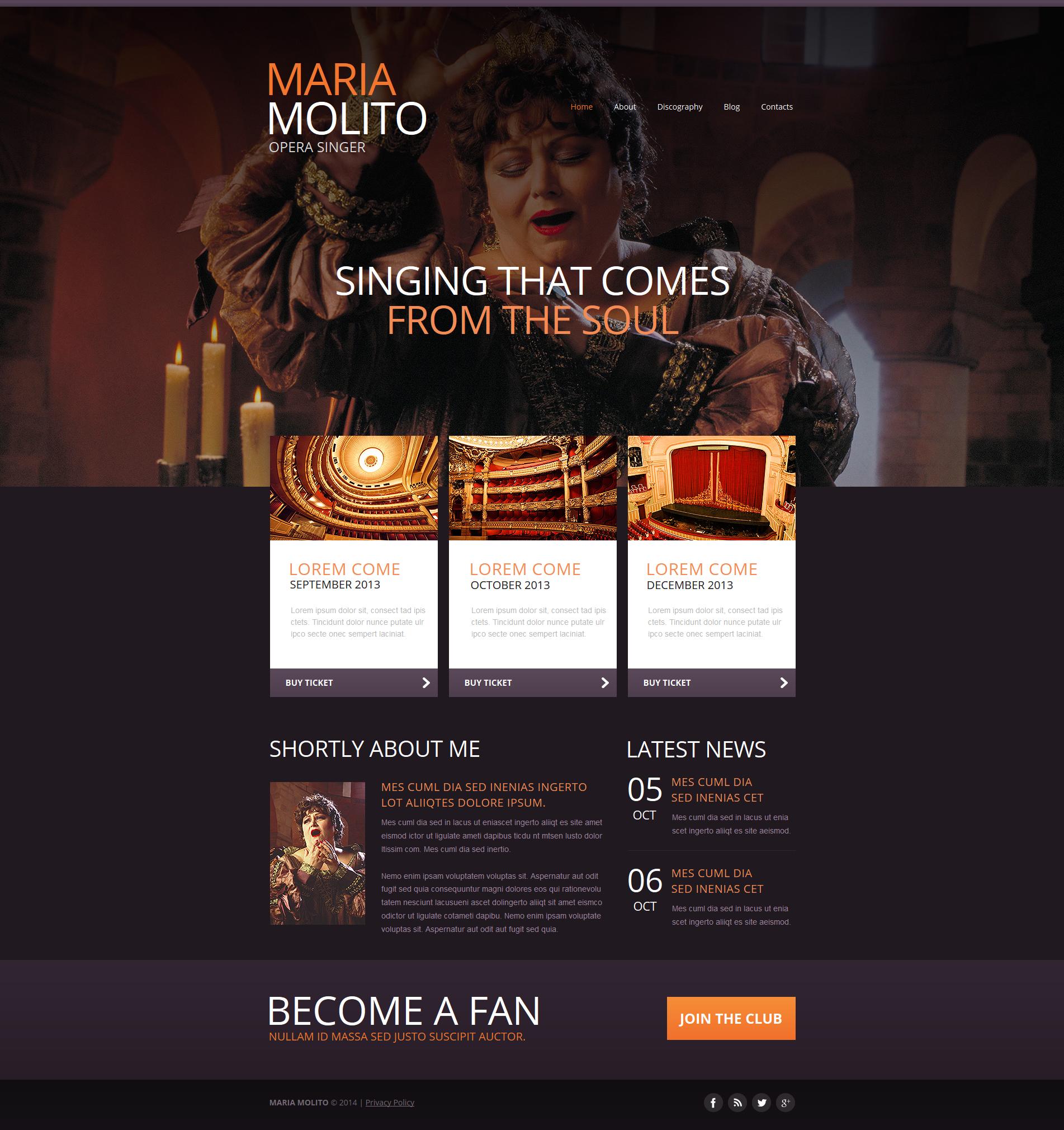 Template Moto CMS HTML #47734 per Un Sito di Cantante