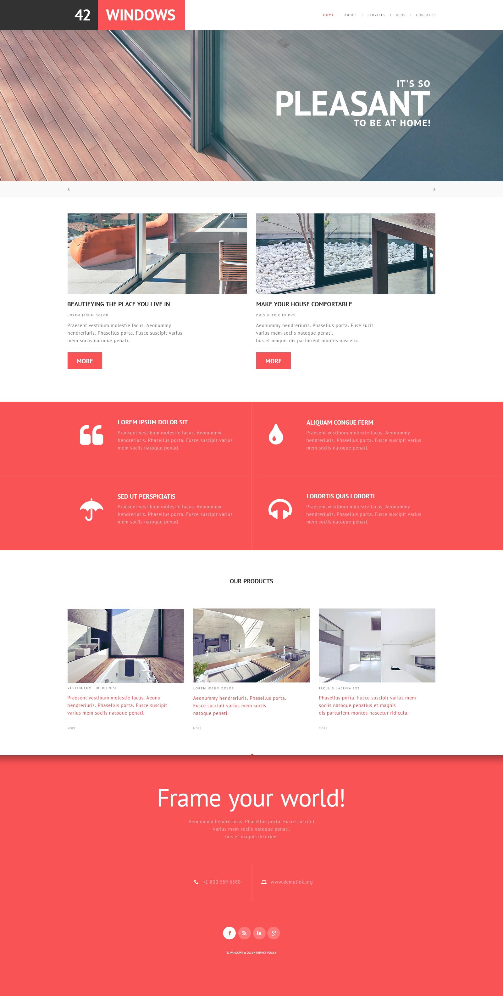 Thème WordPress adaptatif pour site d'entreprises de fenêtres #47785