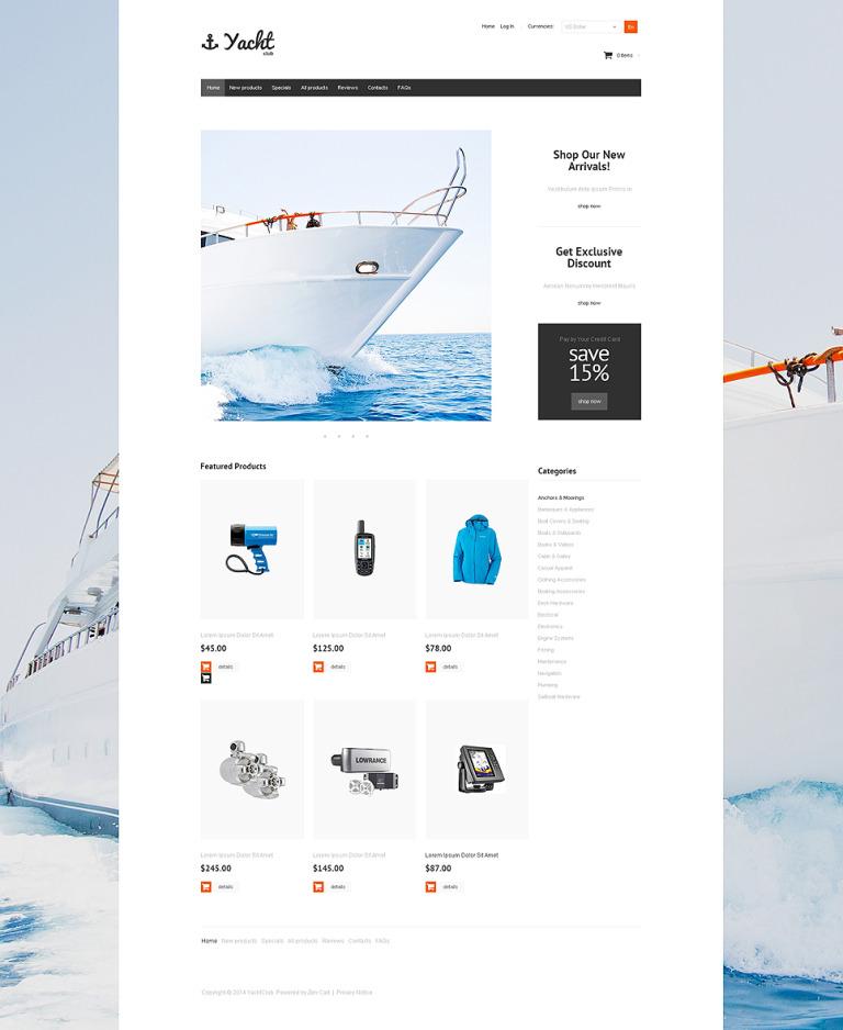 Yacht Club ZenCart Template New Screenshots BIG