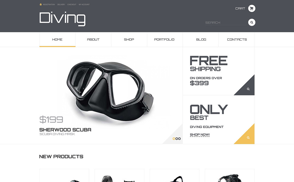 Tema WooCommerce Responsive #47805 per Un Sito di Diving New Screenshots BIG