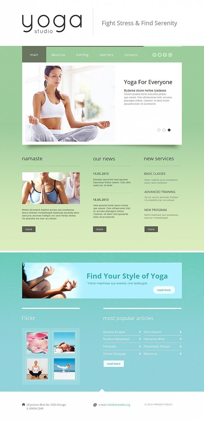 Yoga Studio Website Template Done in Green-and-Blue Color Palette - image