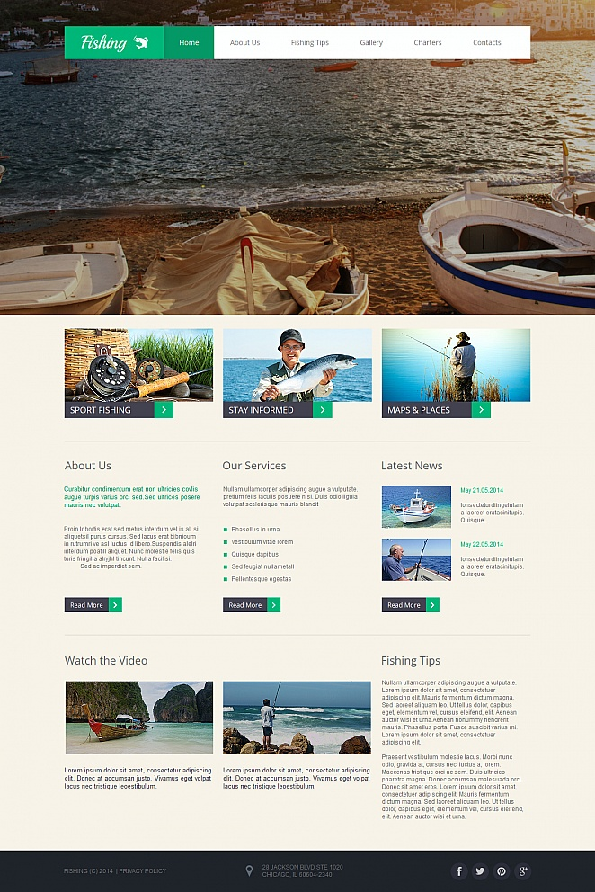 Fishing Website Template with Large Image Slider - image