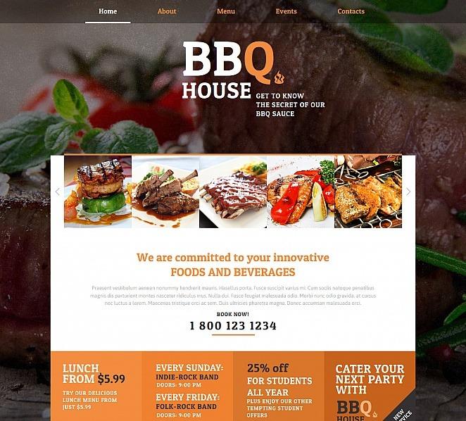 Premium Moto CMS HTML Template over BBQ Restaurant  New Screenshots BIG