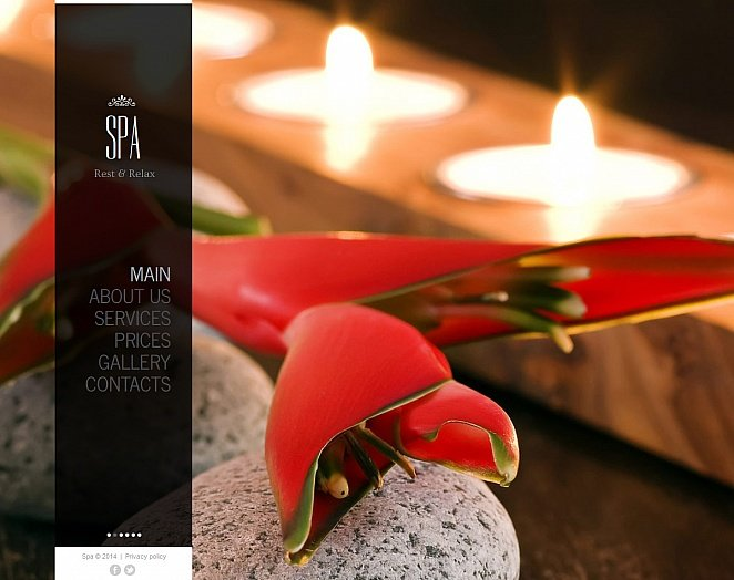 Spa and Beauty Website Template with Black Vertical Menu - image