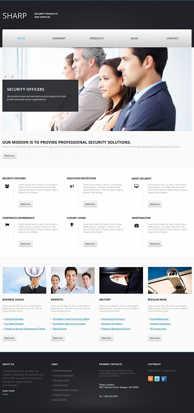 Security Products Website Template with Black Header and Footer - image