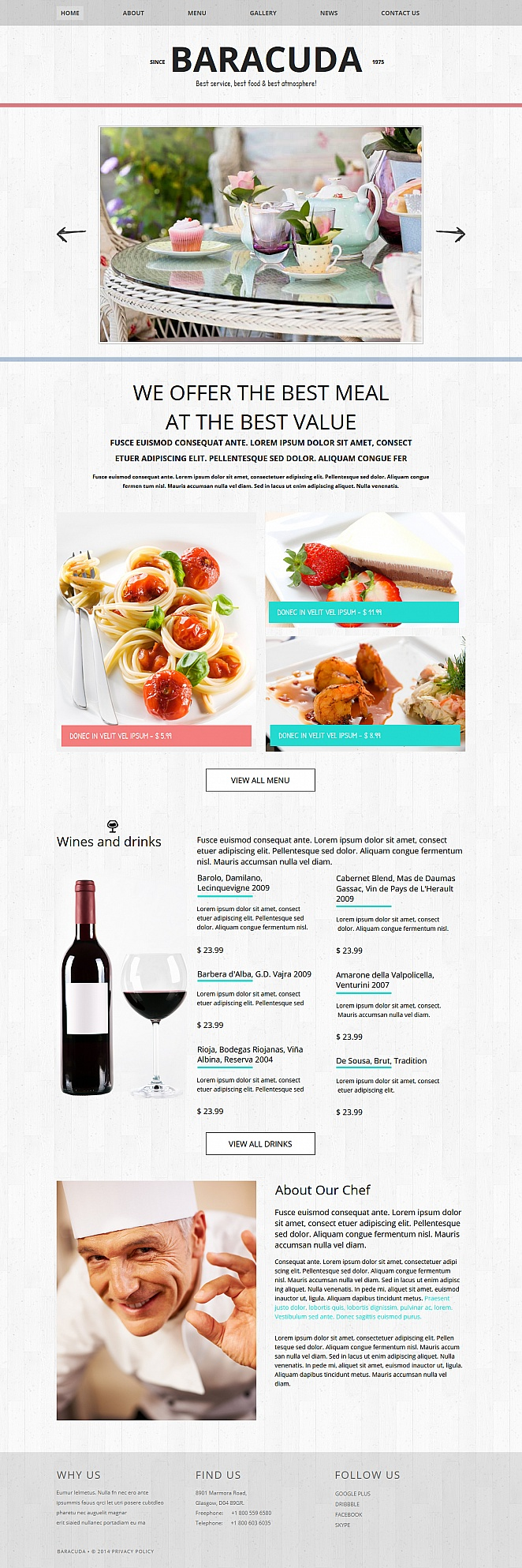Restaurant Website Template with an Awesome Menu Design - image