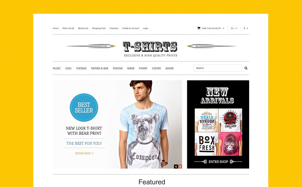 Responsive T-shirt Mağazası  Opencart Şablon New Screenshots BIG