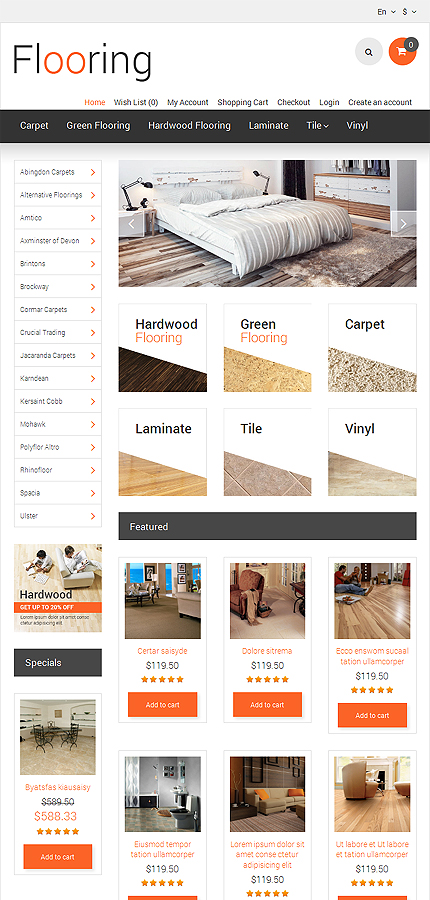 Template #47872 Online Store Opencart Template - Tablet Layout