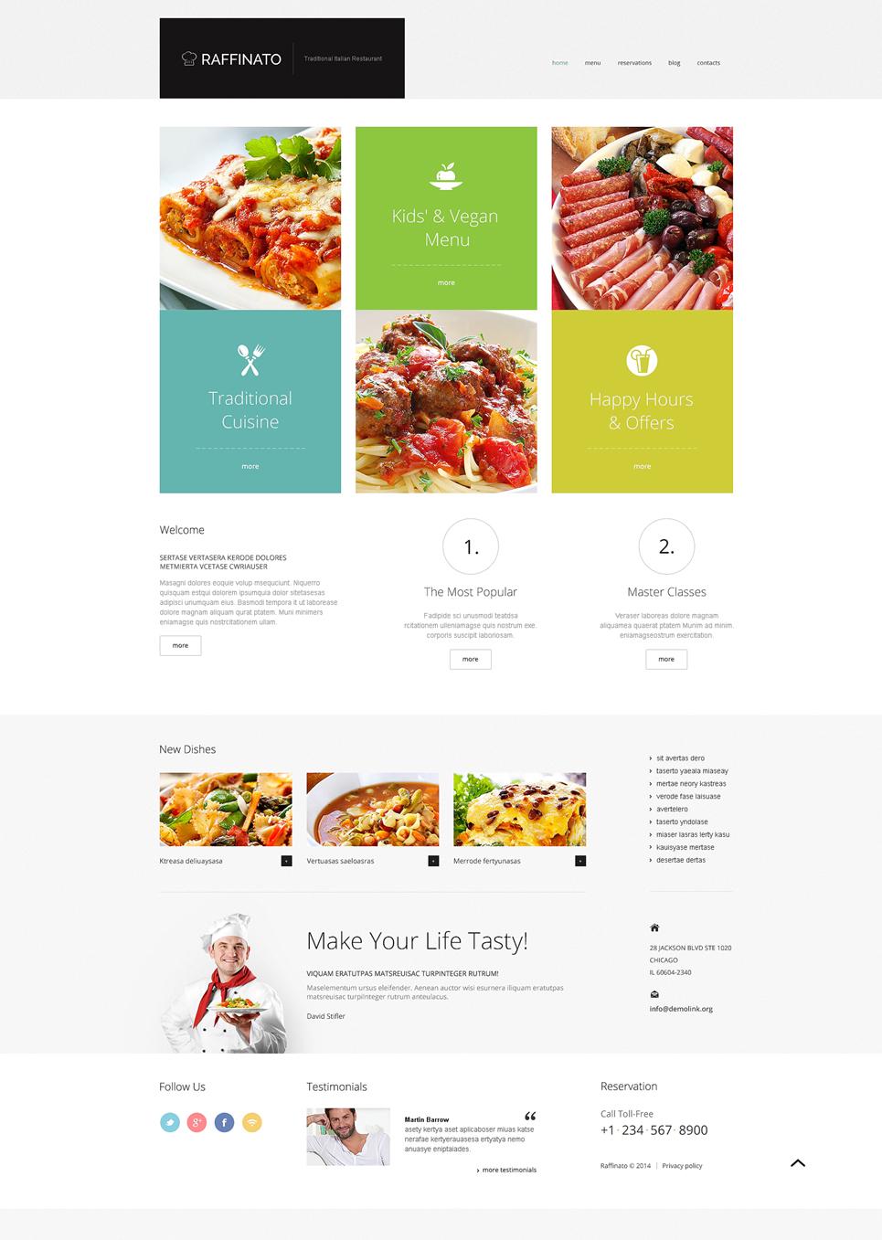 Адаптивный шаблон сайта на тему кафе и ресторан #47831