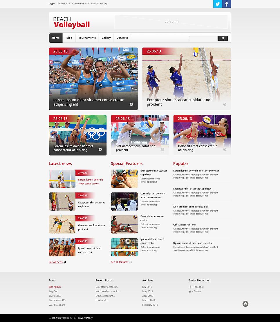 Адаптивный шаблон сайта на тему волейбол #47858