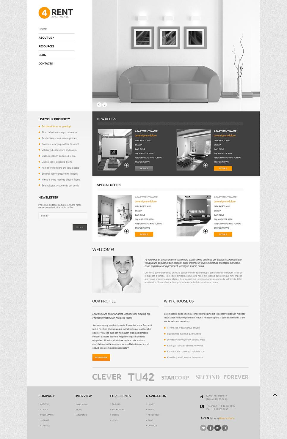 Адаптивный шаблон сайта на тему агентство недвижимости #47860