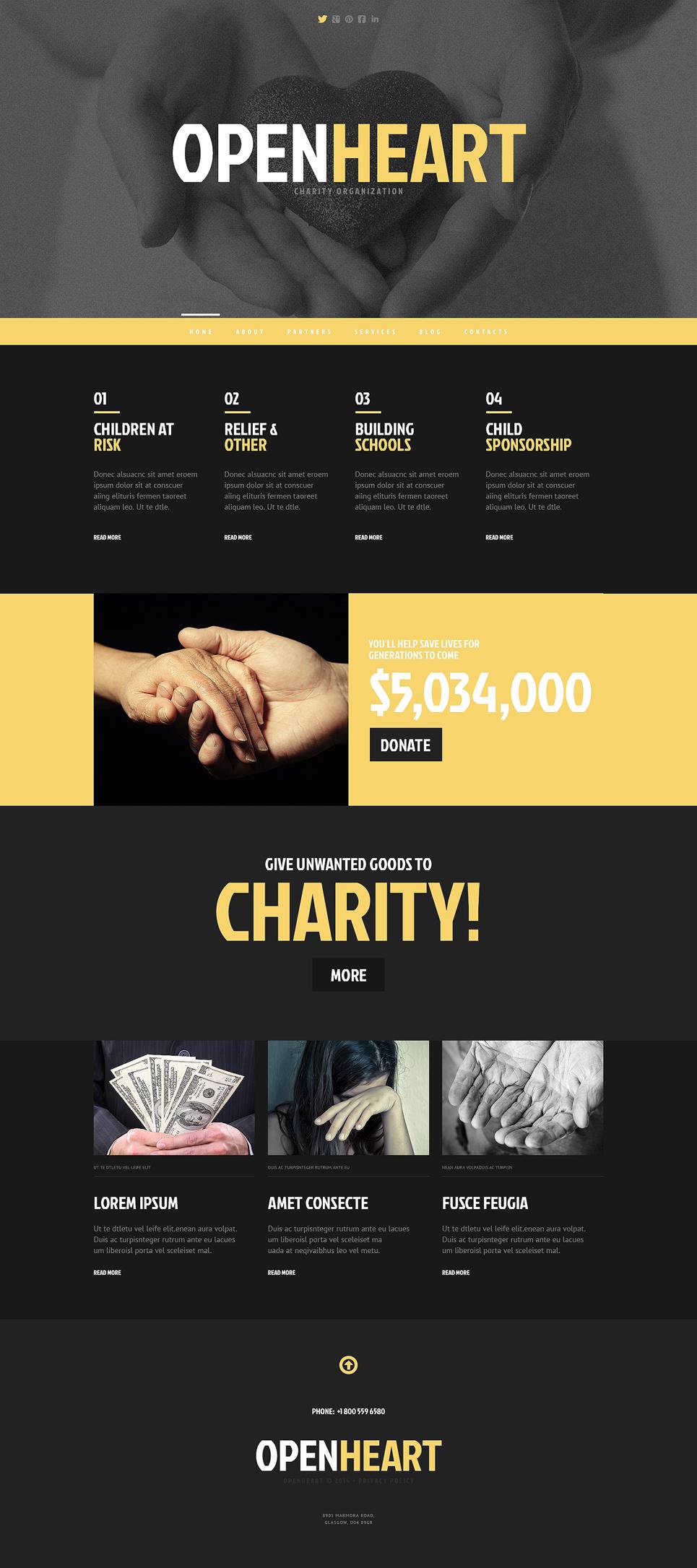 Адаптивный шаблон сайта на тему благотворительность #47861