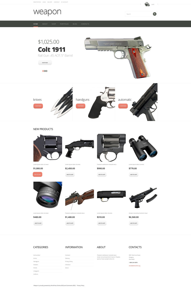 Firearms Advertizing WooCommerce Theme New Screenshots BIG