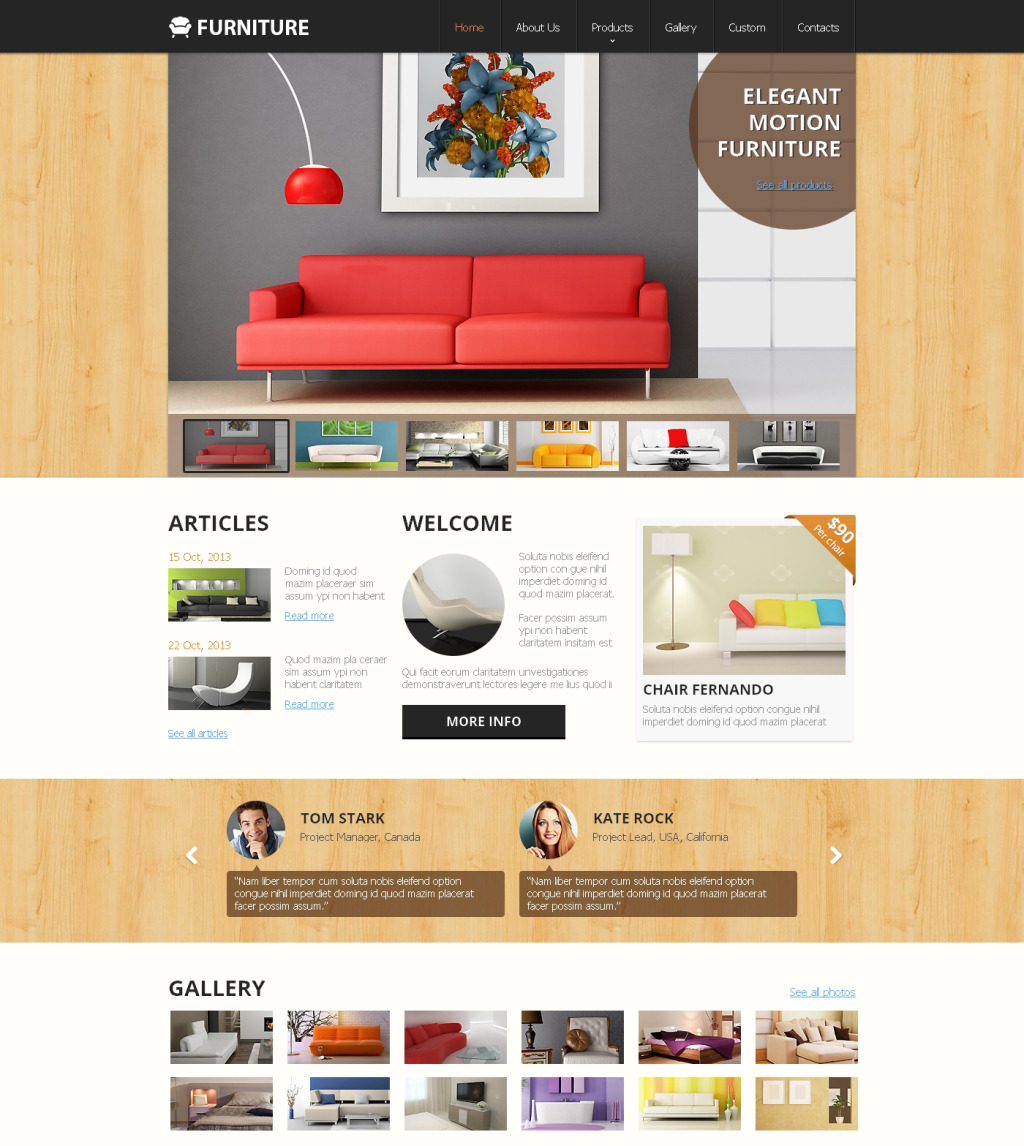 Furniture Web Sites: Furniture Responsive Website Template #47895