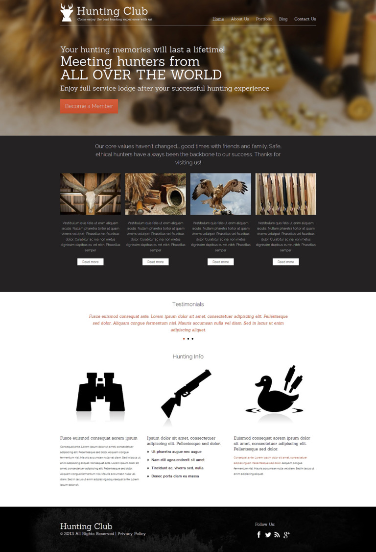 Hunting Drupal Template New Screenshots BIG