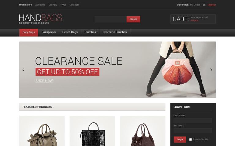 Leather Handbags VirtueMart Template #47863