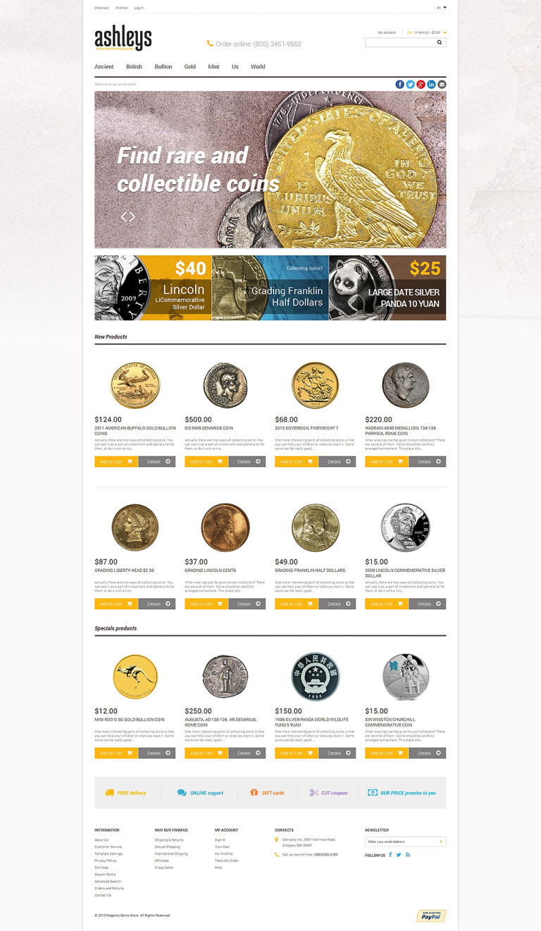 Numismatist's Store Magento Theme New Screenshots BIG