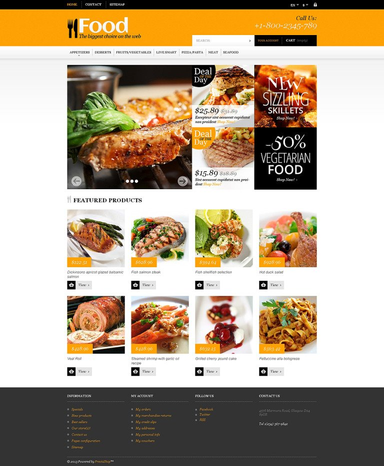 Online Orders of Meals PrestaShop Theme New Screenshots BIG