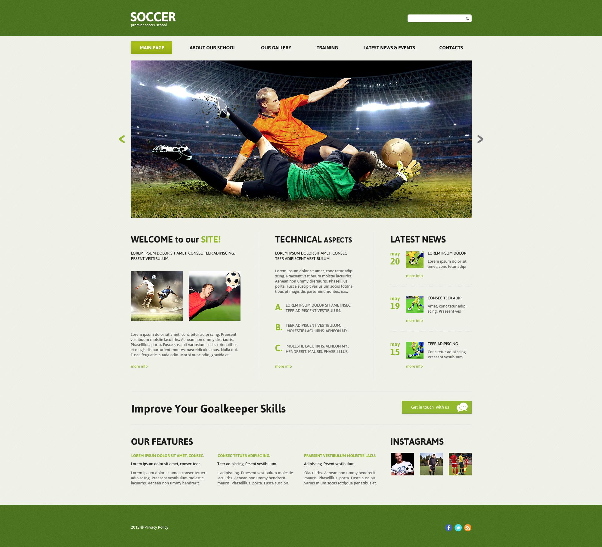 Fußball Vorlagen, Fußball Website Vorlagen