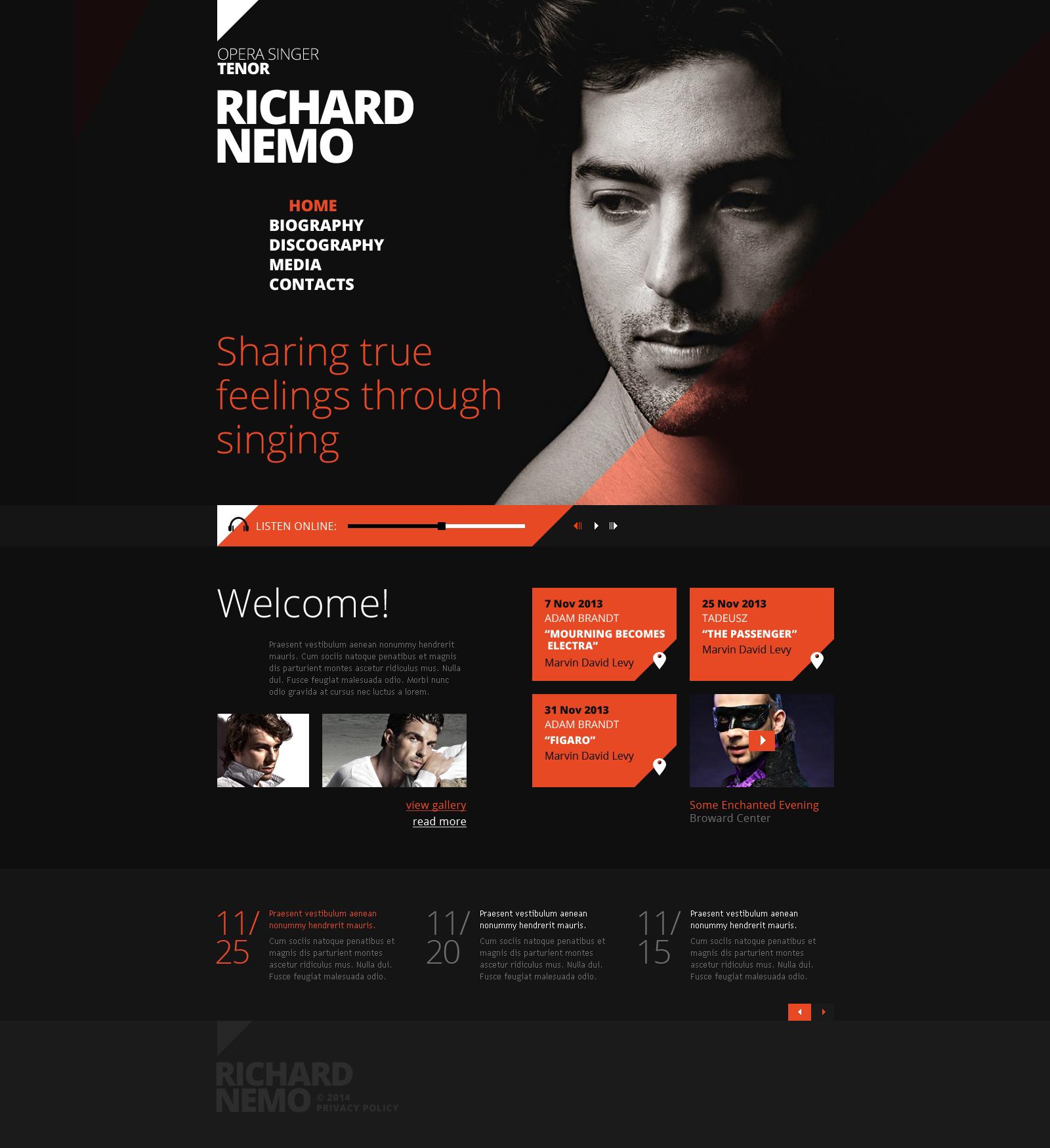 Responsive Şarkıcı Web Sitesi #47843 - Ekran resmi
