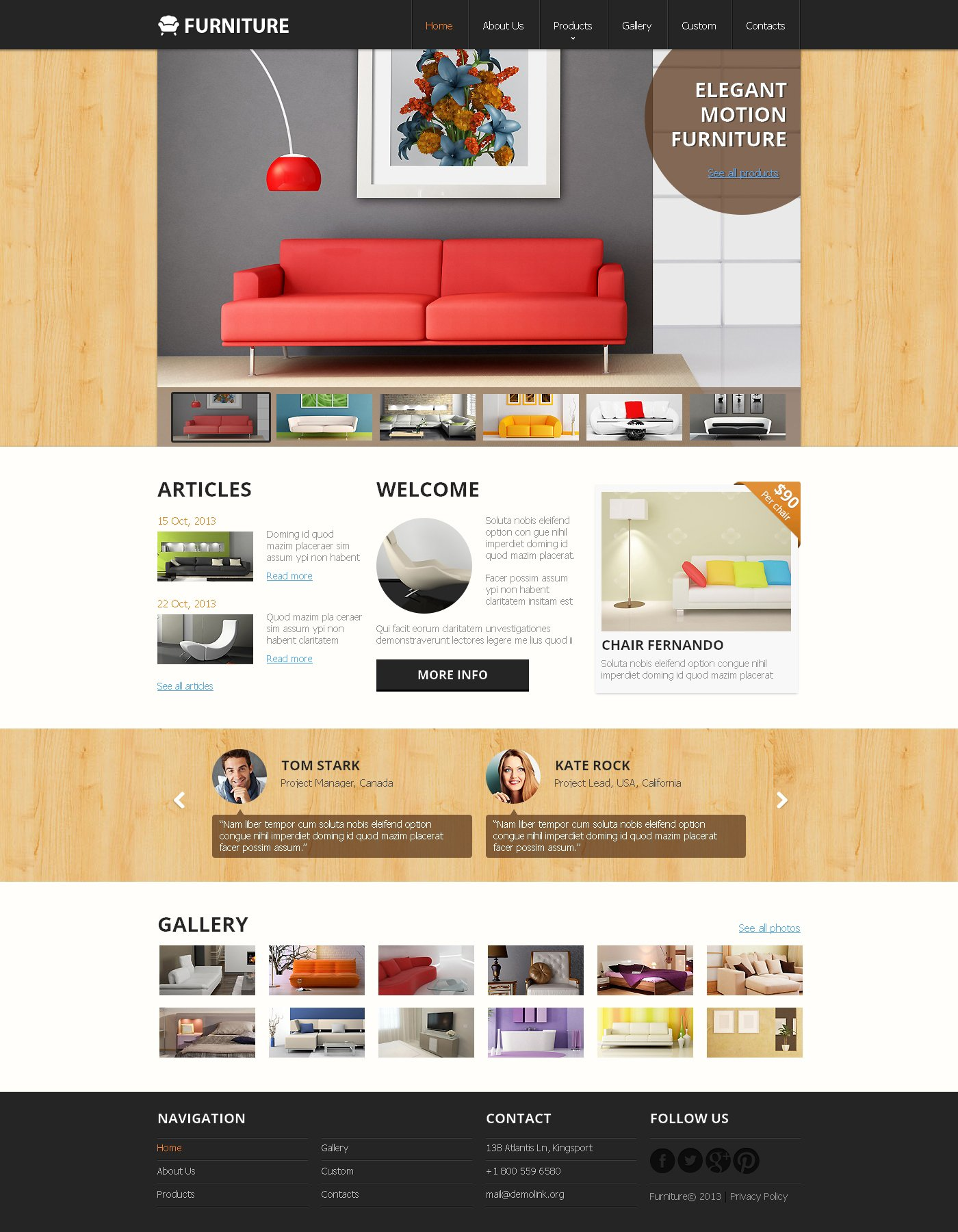 Responsive Website Vorlage für Möbel #47895