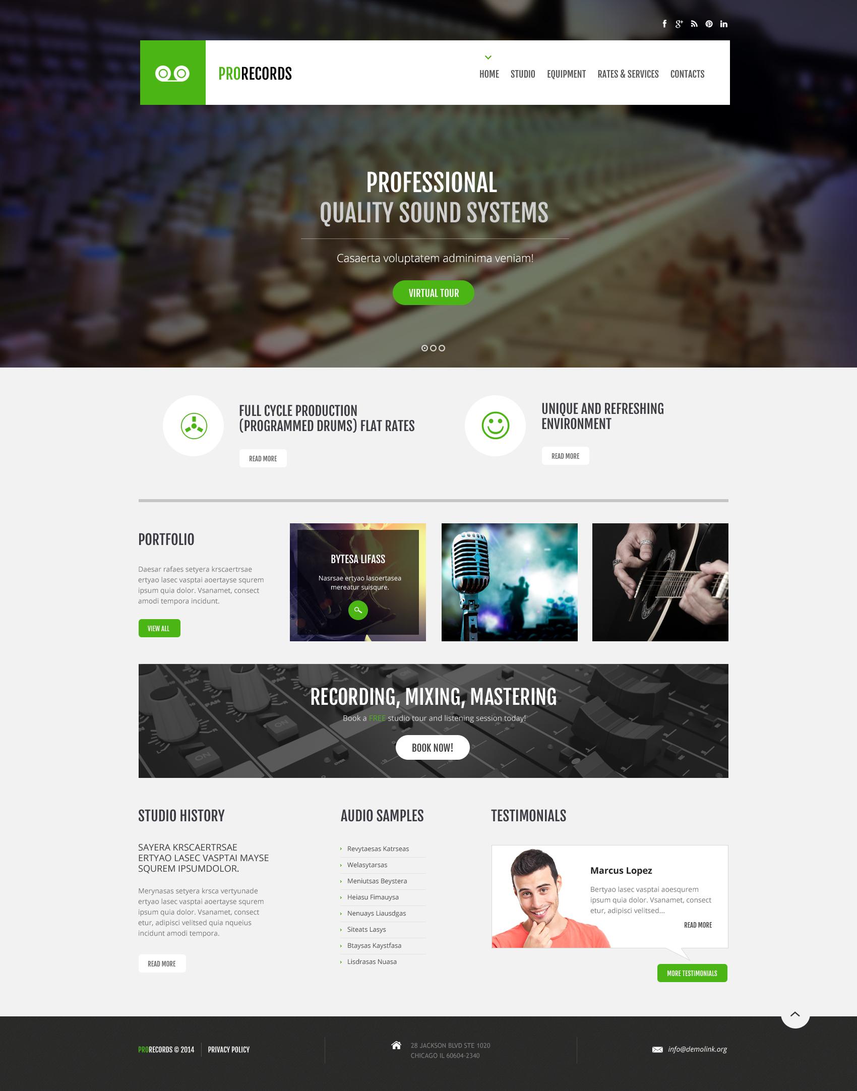 Responzivní Šablona webových stránek na téma Nahrávací studio #47897 - screenshot