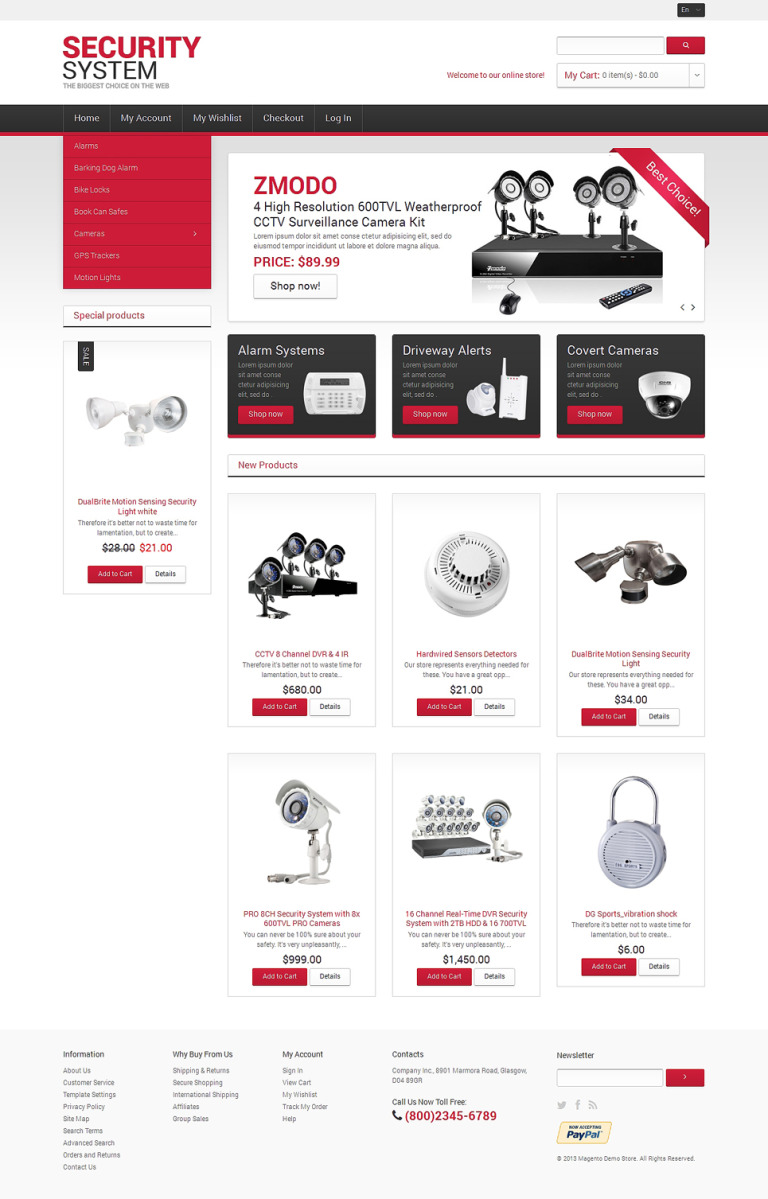 Security Systems Magento Theme New Screenshots BIG